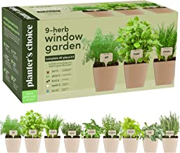9 Herb Window Garden – Indoor Organic Herb Growing Kit – Kitchen Windowsill..