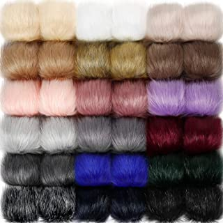 Willbond 36 Pieces Faux Fox Fur Pom Pom Balls with Rubber Band Fluffy Knitting Accessories for Hats Shoes Scarves Handbags Keychain (Mixed Colors)