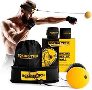 Boxing Reflex Ball Headband Set - Punching Ball on String Adjustable Two Difficulty Level for Training Box Fight MMA Equipment Hand Eye Coordination Speed Reaction with Hand Wraps for Kids and Adults