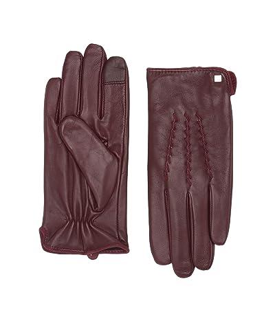 LAUREN Ralph Lauren Whip Stitch Points Gloves (Oxblood) Liner Gloves