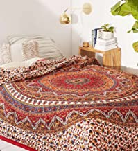 Popular Handicrafts Mandala Bohemian Psychedelic Intricate Floral Design Kerala Tapestry Magical Thinking Tapestry Indian Bedspread Tapestry 54x84 Inches,(140cmsx215cms) Red