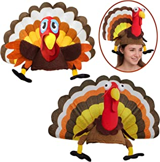 2 Turkey Hats for Happy Thanksgiving Party Costume, Outfit, Dress, Decorations.