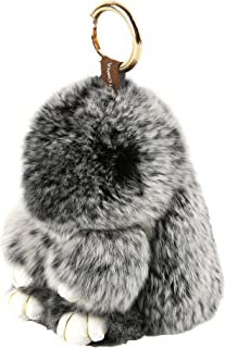 YISEVEN Stuffed Bunny Keychain Toy - Soft and Fuzzy Large Stitch Plush Rabbit Fur Key Chain - Cute Fluffy Bunnies Floppy Furry Animal Easter Basket Stuffers Gifts Women Bag Charm Car Pendant - Black