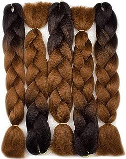 Forevery Braiding Hair Synthetic Ombre Hair Kanekalon Braiding Hair High Temperature Fiber Crochet Twist Braids Black to Brown Ombre (24