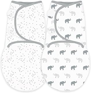 Amazing Baby Swaddle Blanket with Adjustable Wrap, Set of 2, Tiny Elephants and Confetti, Sterling, Small
