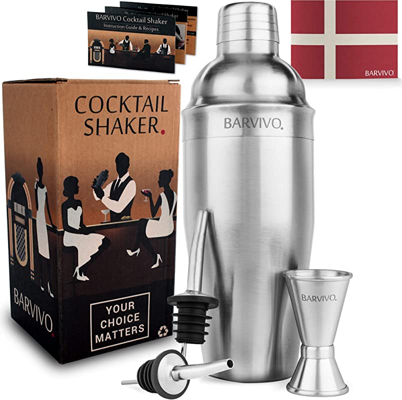 Barvivo Professional Cocktail Shaker Set W A Double Jigger 2 Liquor Pourers 24oz Martini Mixer Made Of Brushed Stainless Steel Perfect For Mixing Margarita Manhattan Other Drinks At Home