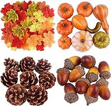 ASTARON 56 Pcs Autumn Fall Decorations,Mini Artificial Pumpkins, Artificial Acorns Pine Cones, Fall Leaves for Halloween D...