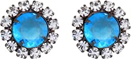 Gunmetal with Crystal Setting Aqua Center Button Clip Earrings