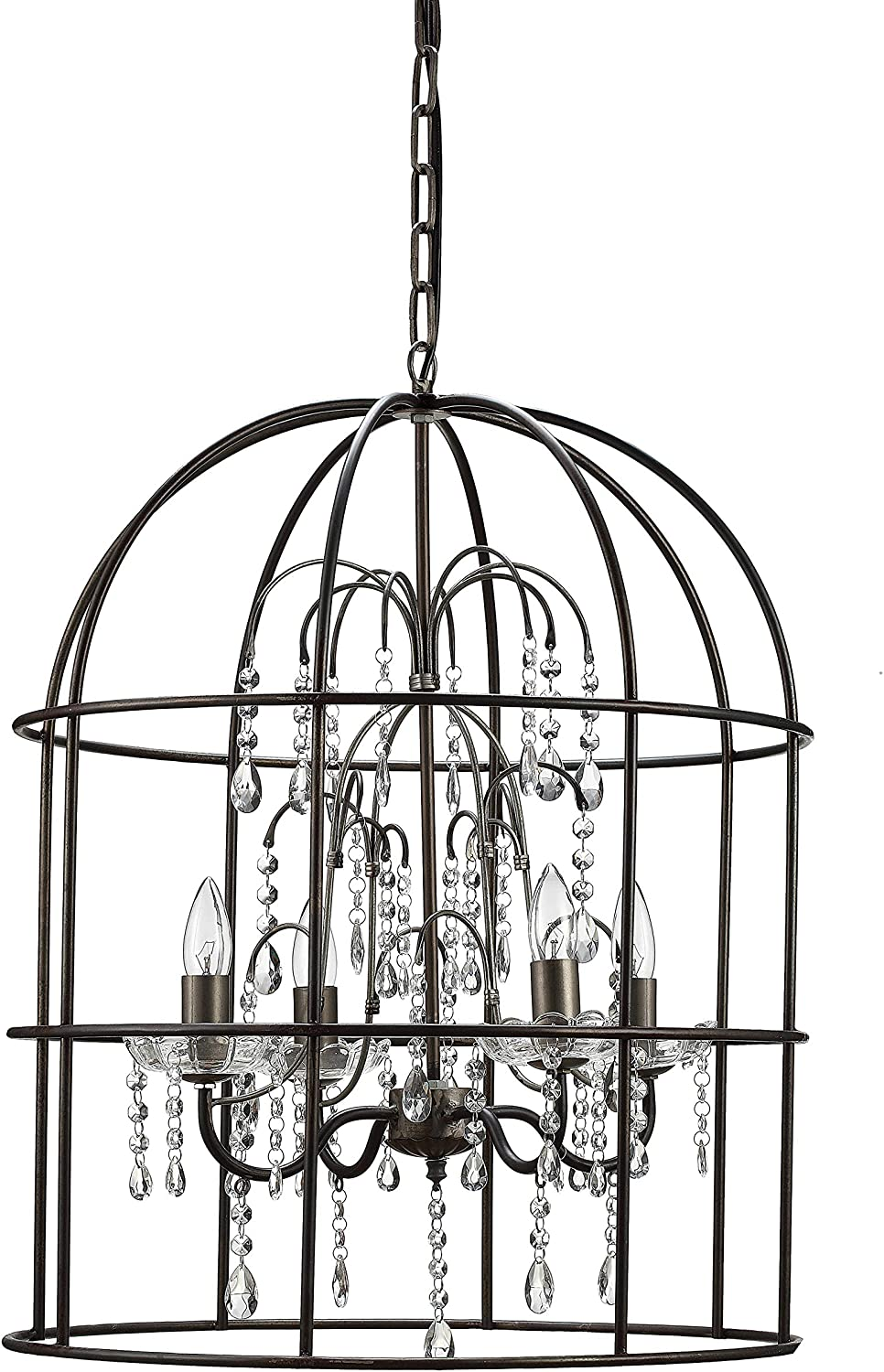 Atlanta Mall Max 71% OFF Creative Co-Op Black Metal Birdcage 4 with Chandelier andCrystal