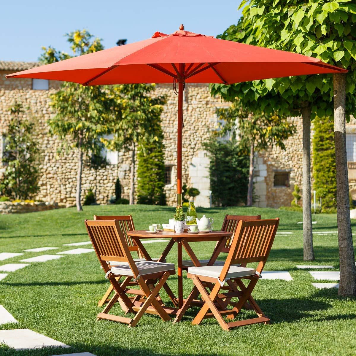 Conjunto de Mesa y sillas para terraza marrón de Madera Garden - LOLAhome: Amazon.es: Jardín