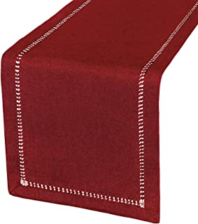 Grelucgo Handcrafted Solid Color Dining Table Runner, Dresser Scarf, Double-Hemstitched (Burgundy, 14 x 72)