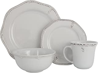 Melange Stoneware 32-Piece Dinnerware Set (Antique White) | Service for 8| Microwave, Dishwasher & Oven Safe | Dinner Plate, Salad Plate, Soup Bowl & Mug (8 Each)