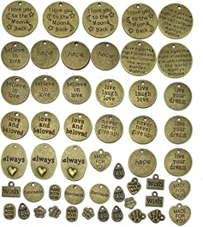 48PCS Antique Bronze Motivational Charms, JIALEEY Wholesale Bulk Lots Inspirational Message Charm Pendants for Crafting, Jewelry Findings Making Accessory for DIY Necklace Bracelet