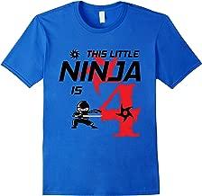 4th Birthday Ninja Party 4 Year Old Birthday Shirt for Kids