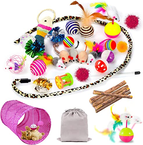 Mibote 30 Pcs Cat Toys Kitten Toys Assorted, Cat Tunnel Catnip Fish Feather Teaser Wand Fish Fluffy Mouse Mice Balls ...