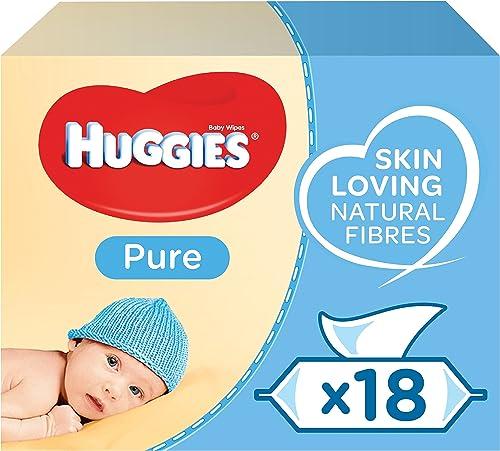 Huggies, Lingettes bébé, Pour tout le corps, Utilisables dès la naissance, Sans parfum, 18 paquets de 56 lingettes, M...