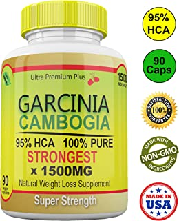 Strongest 1500MG Garcinia Cambogia 100% Pure 95% HCA Extract Extreme Weight Loss & Appetite Suppressant Capsules. All Natural Skinny Diet Slim Pills for Men & Women 90cts