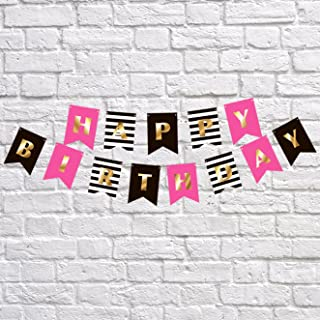 Premium Happy Birthday Banner Party Decorations | Bunting Garland | Hot Pink Gold Black White | Chic Kate Spade Inspired | First, 10th, 18th, 21st, 30th, 40th, 50th, 60th etc | for Girls, Women