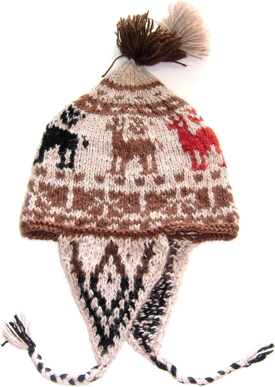 Alpakaandmore, Original Chullo Hat Cusqueno Alpaka Wool HandKnitted, One Size