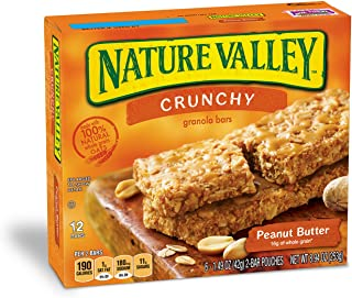 Nature Valley Granola Bars, Crunchy, Peanut Butter, 6 Pouches - 1.5 oz, 2-Bars Per Pouch (Total 12 Bars)