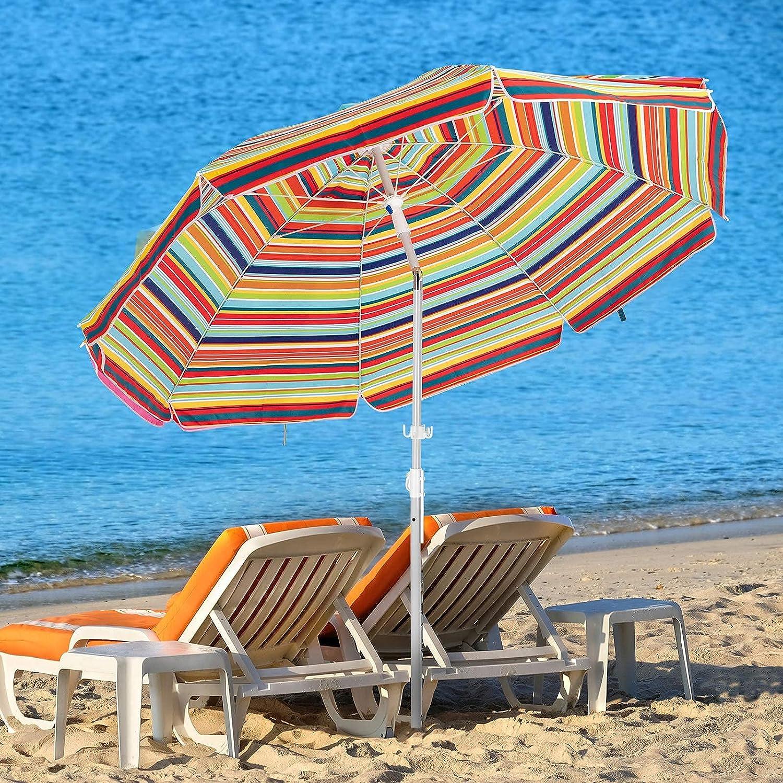 KITADIN Beach Umbrella Portable Outdoor 激安価格と即納で通信販売 S Patio with 期間限定特別価格 Shelter Sun