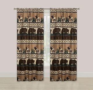 HowPlumb Rustic Lodge Log Cabin 84-in. Window Curtains Panel Pair Drapes Bear Elk