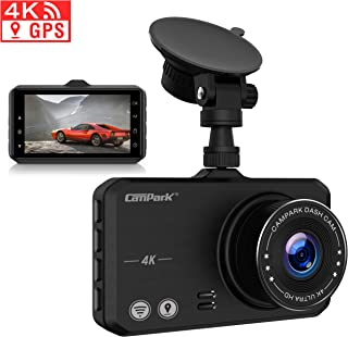 Campark 4K Dash Cam with Wifi GPS Dashboard Camera Recorder for Cars with Ultra HD 2160P 3 IPS Screen 170° Wide Lens Loop Recording G-Sensor Parking Monitor and Super Night Vision