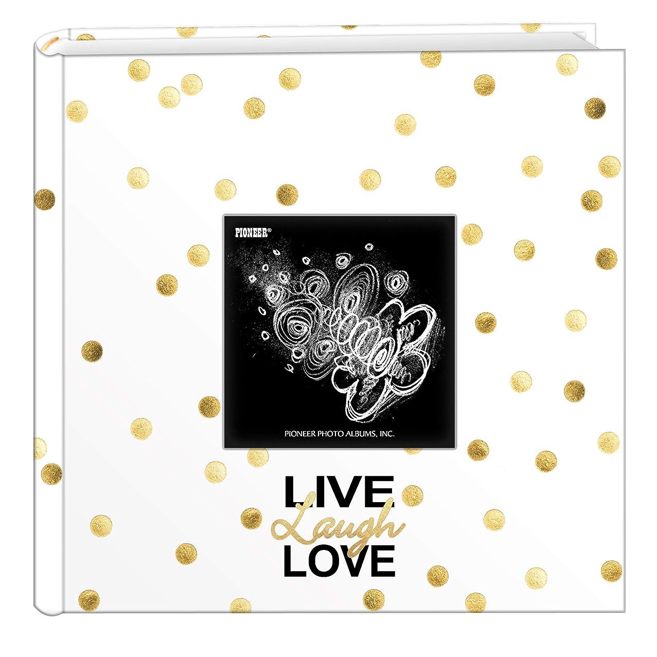 Pioneer Photo Albums EV-246/L Golden Dots Live Laugh Love 200 pkt 4x6 Photo Album, Pocket, Gold