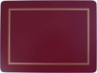 SET OF 6 BURGUNDY GOLD BORDERED CLASSIC CORK BACKED PLACEMATS 30.5 X 23 X 0.6CM