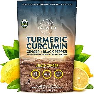 TRUWILD Turmeric Curcumin Drink Mix Powder + Organic Curcuminoid Black Pepper, Ginger, Cayenne Pepper, Lemon - Natural Ant...