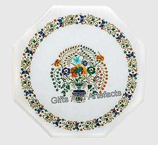 30 pulgadas octágono forma mármol mesa superior único Incrustación de mesa de centro con piedras semi preciosas