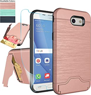 Samsung Galaxy J3 Emerge,J3 Eclipse,J3 Prime,J3 Mission,J3 Luna Pro,Amp Prime 2,Express Prime 2,Sol 2 Case with Protector,NiuBox[Card Slot Wallet Kickstand] Protective Phone Case for J3 2017-Rose Gold