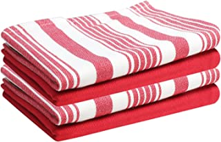 Set of 4 Kitchen Towels, Stripes & Solid, 100% Cotton, Eco Friendly and Safe, Suitable for All Kitchens, Red/White Color, Size 18