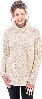 SAOL 100% Irish Merino Wool Ladies Turtleneck Ribbed Cable Knit Sweater