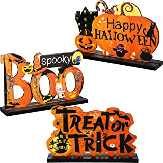 Blulu 3 Happy Halloween Table Decorations, Pumpkin Table Centerpieces Boo Sign Wooden Candy Day for Halloween Party Dinner...