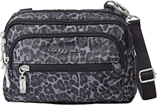 Baggallini Triple Zip Bag – Removable, Adjustable Strap can Switch from Crossbody Bag to Wallet Purse or Waist Pack