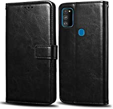 WOW Imagine Samsung Galaxy M30s Flip Case | Premium Leather Finish | Inside TPU with Card Pockets | Wallet Stand | Shock Proof | Magnetic Closure | 360 Degree Complete Protection Flip Cover for Samsung Galaxy M30s - Black