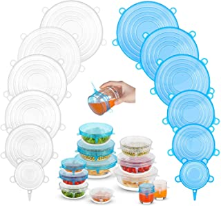 Silicone Stretch Lids (12 Pack, 2 Color), Zero Waste Reusable Silicon Container Lid for Cover Leftover Food and Fruit or B...