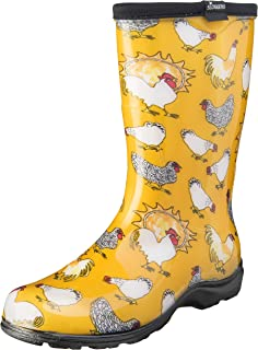 Sloggers Women's Waterproof Rain and Garden Boot with Comfort Insole, Chickens Daffodil Yellow, Size 8, Style 5016CDY08