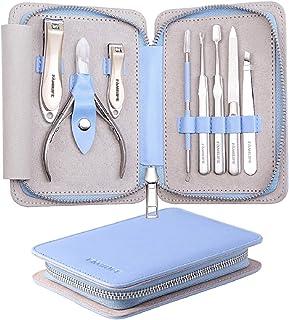 Juego de manicura, FAMILIFE L17 Kit de manicura profesional Juego de cortaúñas Juego de herramientas de pedicura de acero ...