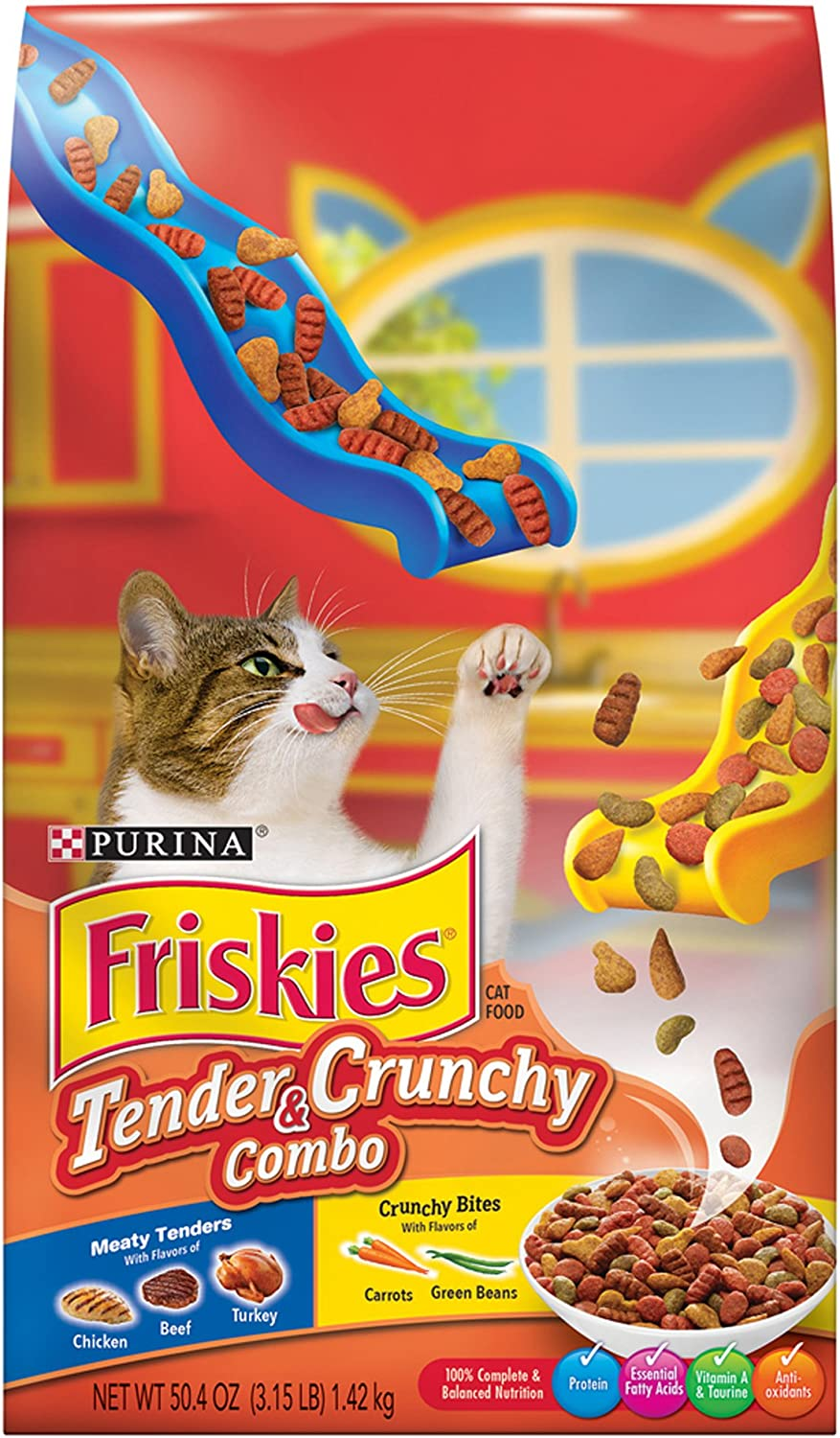 Friskies Dry Cat Food, Tender & Crunchy Combo, 3.15Pound Bag, Pack of 6