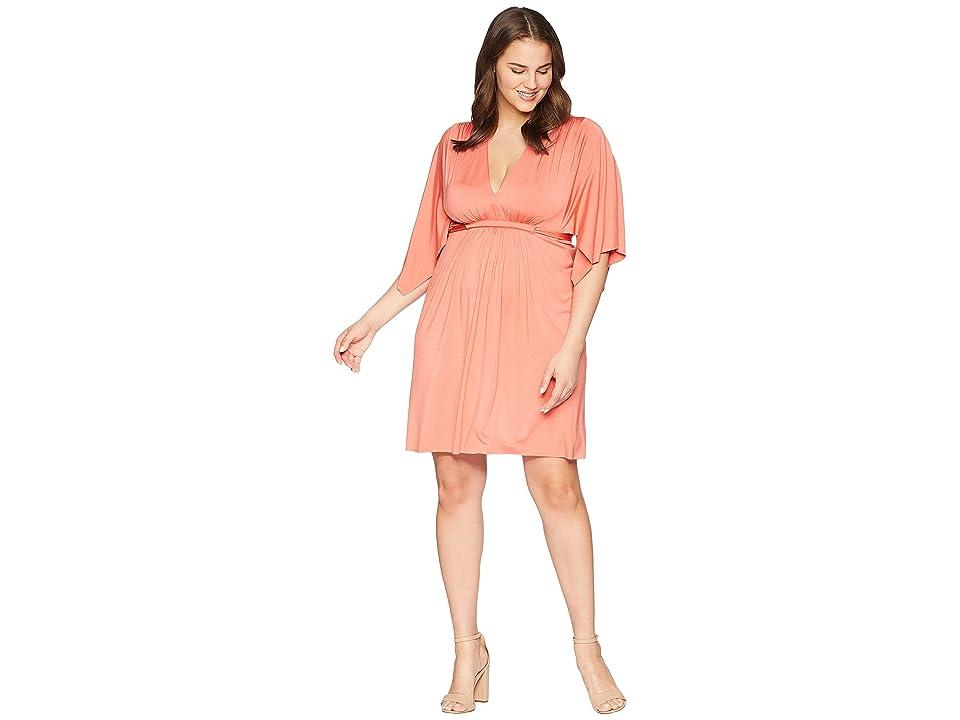 Rachel Pally Plus Size Mini Caftan Dress (Coral) Women