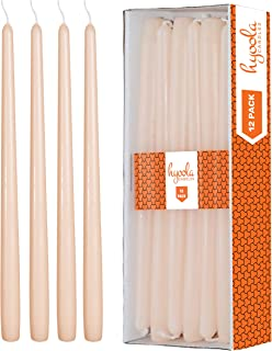 Hyoola 12 Pack Tall Taper Candles - 12 Inch Cream Dripless, Unscented Dinner Candle - Paraffin Wax with Cotton Wicks - 10 Hour Burn Time