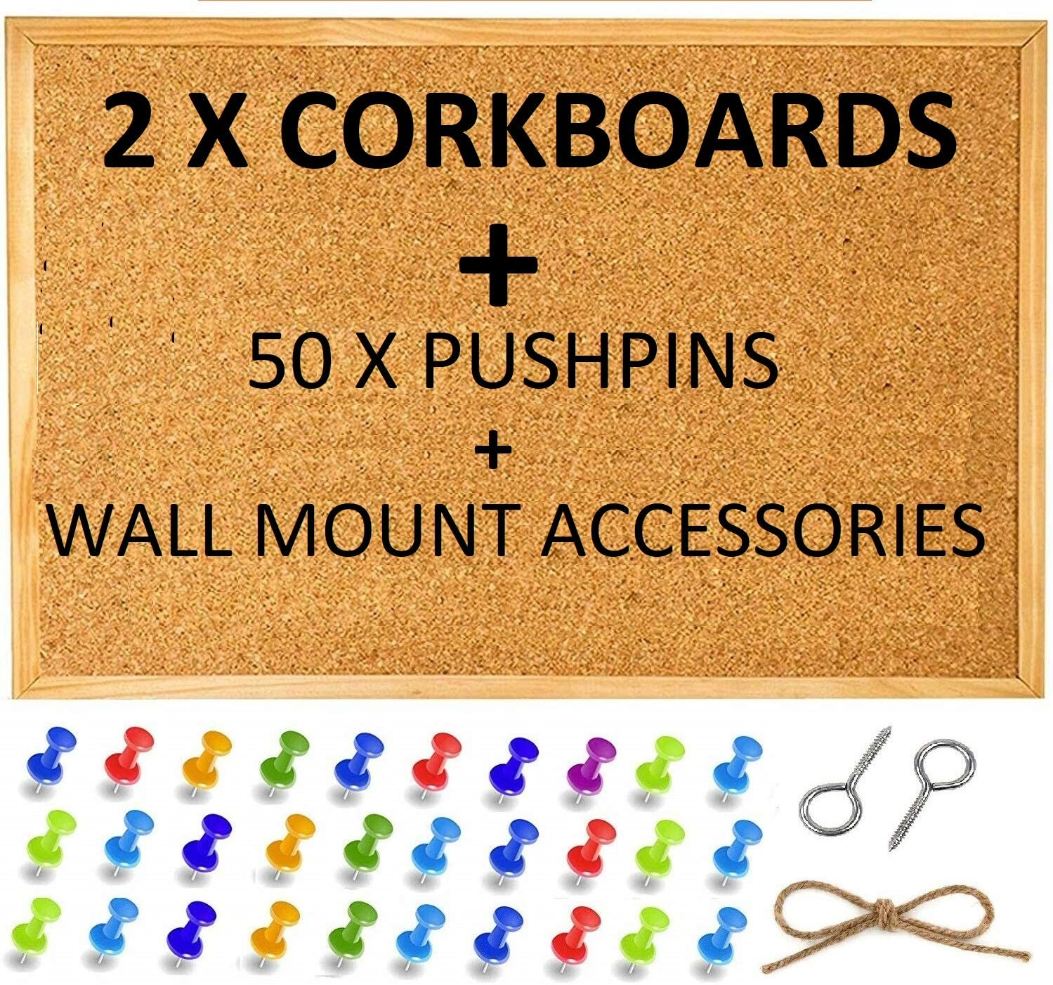 with 50 Push Pins and Wall Mount Screws 2 Pack Large Cork Pin ...