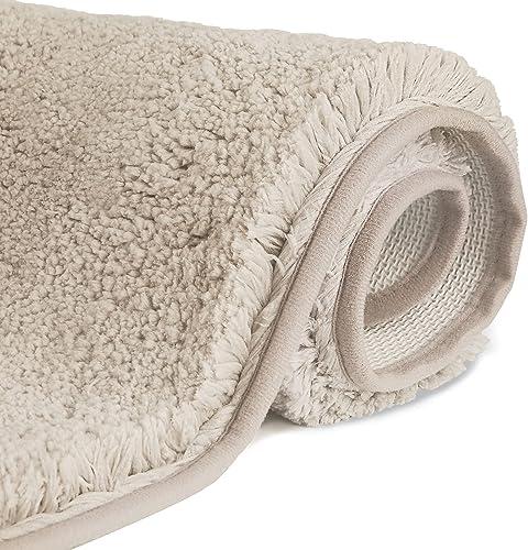 FCSDETAIL Alfombrilla de Baño Antideslizantes de 50X80 cm, Tapete para el Piso Lavable a Máquina con Microfibras Suav...