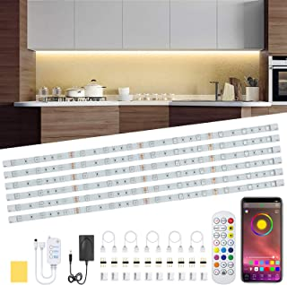 Under Cabinet LED Lighting Kit, 6 PCS RGB LED Strip Lights Waterproof Dimmer 10ft Night Light Bar with APP and Remote Cont...