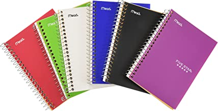 Five Star Personal Spiral Notebook, 7 x 4 3/8, 100 Sheets, College Rule, Assorted colors, 6 Pack