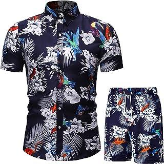 Spritumn-Home Hombre Hawaiana Camisas de Manga Corta Casual Hombres 2 Piezas Verano Conjuntos Camiseta Cuello V de Manga C...