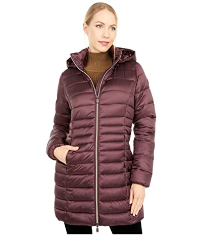 Save the Duck Iris Shiny Iridescent Puffer Coat with Removable Hood (Chestnut Brown) Women