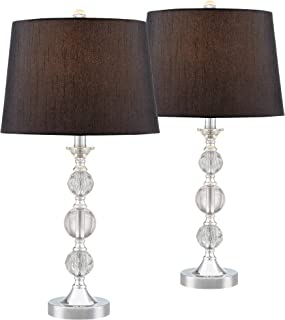 Gustavo Modern Table Lamps Set of 2 Silver Metal Stacked Crystal Balls Black Drum Shade for Living Room Family Bedroom - Regency Hill